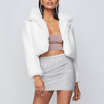 Snowball Cropped Faux Fur Jacket
