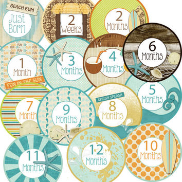 14 Beach Sand Starfish Shells Surfer Surf Coastal Tropical Baby Boy or Girl Monthly Milestone Onesuit Stickers Newborn Shower Gift