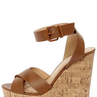 City Classified Olio Tan Platform Wedge Sandals