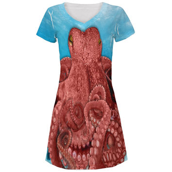 Octopus  Costume All Over Juniors V-Neck Dress