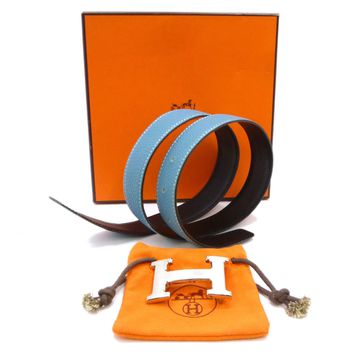 Auth HERMES Constance Reversible Belt 75 Blue/Black Leather I in Square #S111075