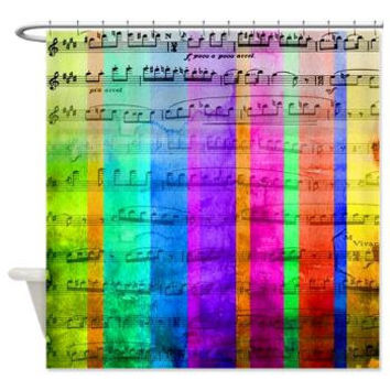 Watercolor Music Shower Curtain - Multicolor happy music stripes , unique,music, blue, red, purple, colorful, sing, decor, home