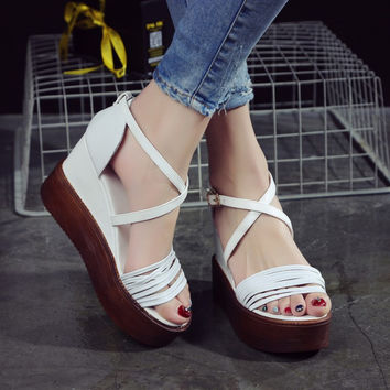 Design Stylish Summer Leather Waterproof Wedge Roman Shoes Sandals [4920639364]