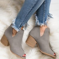 Eyes On You Peep Toe Booties (Grey)