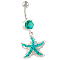 Blue Zircon Crystal Starfish Dangle Belly Button Ring [Gauge: 14G - 1.6mm / Length: 10mm] 316L Surgical Steel & Crystal