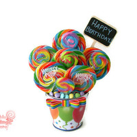 Lollipop Birthday Arrangement, Rainbow Candy Arrangement, Birthday, Candy, Lollipop, Centerpiece, Candy buffet, Customizable, Unisex, edibl