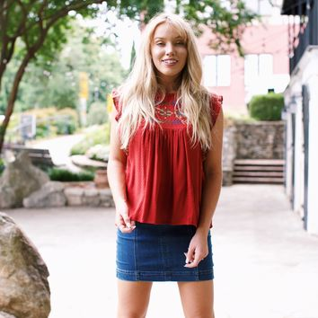 Scarlet Flutter Top, Brick