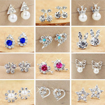 min $ 7 (mix order)  Hot Selling Earring 2017 Fashion Brand Rhinestone Stud Earrings Women Alloy crystal Studs Earring For Women