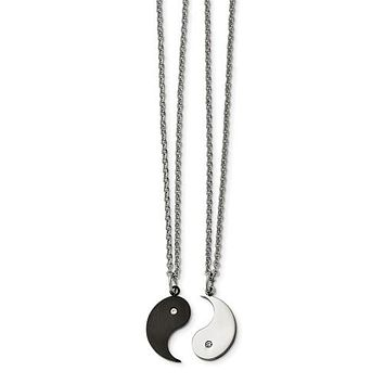 Stainless Steel Yin Yang CZ Necklace Set