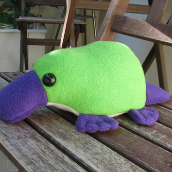 Little Platypus Plushie - Green and Purple Stuffed Animal Toy