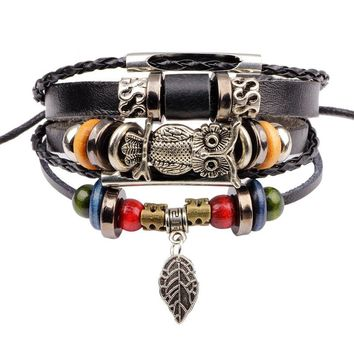 New Punk Vintage Rope Handmade Bead Woven Owl Leather Bracelets Women Bangles Female Rock Homme Men dropshipping Jewelry Gift