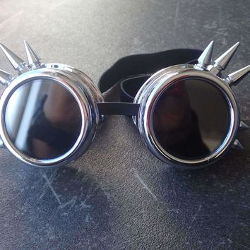 NEW Fashion Silver Steampunk Goggles Spikey Burning Man Costume Cosplay Gothic Punk  Safety Goggles