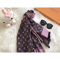 LV Supreme Trending  Fashion Woman Men Print Cashmere Warm Cape Scarf Scarves Purple G-XLL-WJ