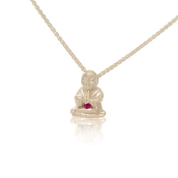 Sterling Silver Ruby Peaceful Buddha Pendant Necklace Love Light Compassion Foundation Buddha Buddies