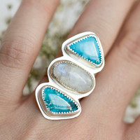 Turquoise and rainbow moonstone ring, Turquoise ring, Moonstone ring, Triple stone ring, Statement ring, Big turquoise ring, Big silver ring