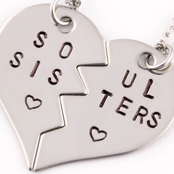 soul sisters broken heart necklace set | best friend gift | stainless steel  (BL)