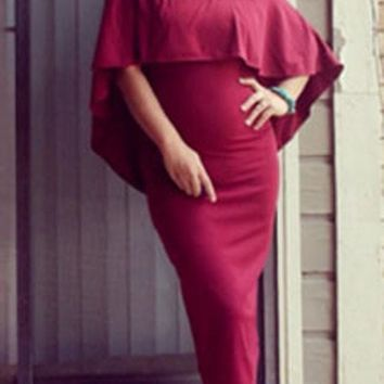 Burgundy Bandeau Off Shoulder Backless Cape Party Midi Dress