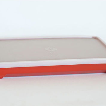Vintage Tupperware Cold Cut Keeper, Deli or Bacon Storage, Sandwich Meat Storing, Marinating Container, Red Orange