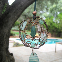 Ancient Roman Glass Shard Pendant Necklace or Suncatcher Rustic Sea Green Glass in Woven Wire Pendant on Leather Cord