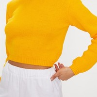 Bright Yellow High Neck Soft Cropped Jumper
