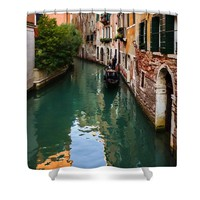 Impressions of Venice - Green Reflections and a Gondola Shower Curtain
