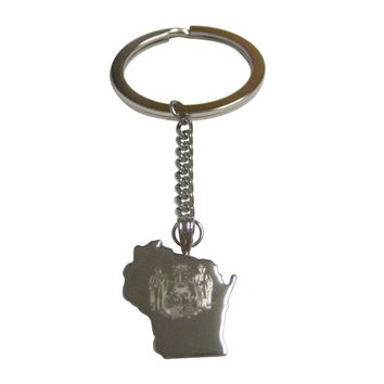 Wisconsin State Map Shape and Flag Design Pendant Keychain