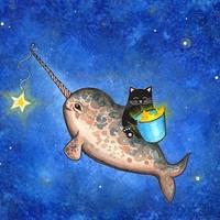 Hanging Stars with a Friendly Narwhal by annya127 on Etsy