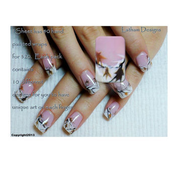 """Set of 40 Snow Camo Hand Painted Nail Wraps from the Freeda Latham """" Signature Collection """""""