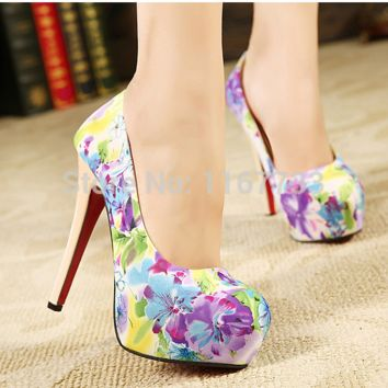 New Spring Fashion Sexy Shallow Mouth Flowers Print Floral Round Toe Female Pumps Shoes High Platform High Heels Evening Shoes