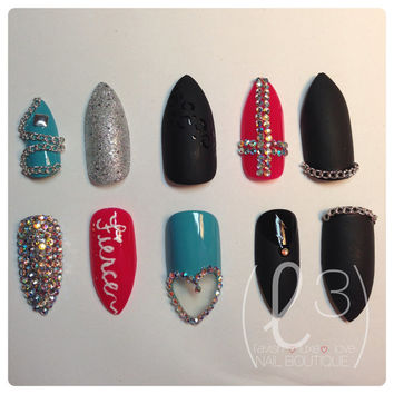 Fierce Matte Black Custom Hand Painted Press On Nails (Square, Oval or Stiletto Tip)
