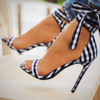 High Heel Shoes Plaid Cross-Tied Ladies Pumps Ankle Strap Lace Up Womens Sandals