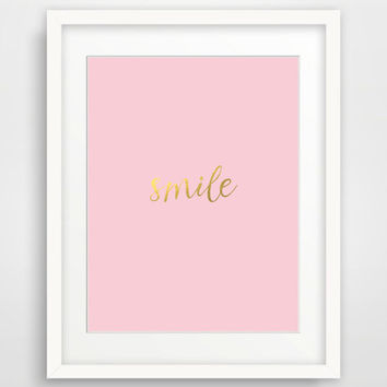 Gold Typography Print, Gold Wall Print, Printable Nursery Quote 'Smile' Blush Gold Wall Art Prints, Digital Download, Pink Gold Wall Decor
