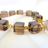 Smokey quartz bracelet chocolate quartz tennis bracelet, gifts under 50