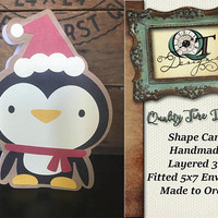 Penguin Shaped Christmas Card | Handmade Shape Card | Blank Inside | Layered 3D | Made to Order | Aprox. 5 X 7 | Envelope Included