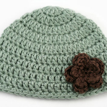 Green Crochet Hat with Brown Flower // Newborn Size // Baby Girl Beanie