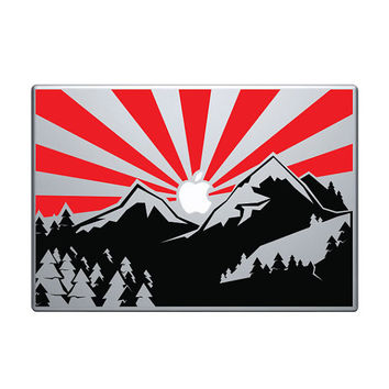 "Mountain Landscape Vinyl Decal / Sticker to fit Macbook Pro 13"" 15"" 17"" - Custom sizes available - wild precision die cut sunset sunrise"