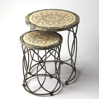 Metalworks Kinich Fossil Stone Nesting Tables