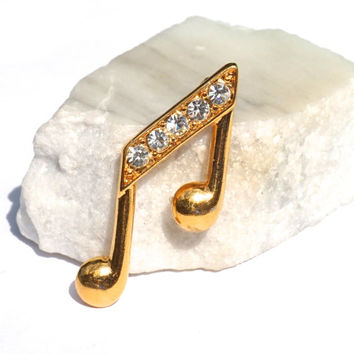 MONET Music Note Pin with Rhinestones,Vintage Monet Brooch,Yellow Gold Tone,Clear Rhinestone,Music Note Brooch or Lapel Pin,Musician Jewelry