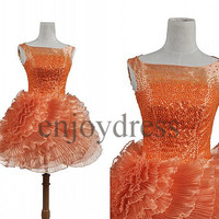 Custom Orange Beaded Short Tulle Prom Dresses Evening Dress Lovely Party Dress Ball Gowns Bridesmaid Dresses 2014 Homecoming Dresses