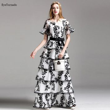 fashion brand  women  flower embroidery white flare sleeve long work party evening ball gown cake organza dress 9516
