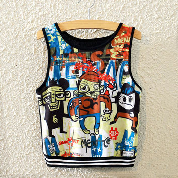 Hot Sexy Comfortable Stylish Beach Bralette Summer Cartoons Print High Rise Vest [6267562502]