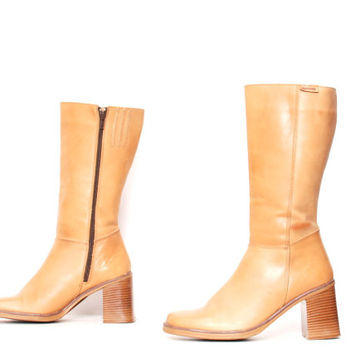 size 8.5 PLATFORM tan leather 80s 90s BOHEMAN zip up CAMPUS midcalf tall boots