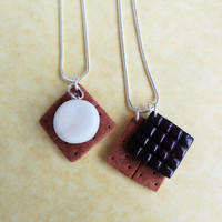 polymer clay s'more bff friendship necklaces best friend necklaces