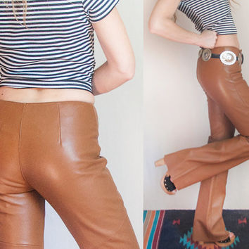 Womens Wilsons Leather Bell Bottom Pants S XS | Small Camel Leather Flare Pants 80s 90s Vintage Bell Bottoms | Biker Western Southwestern