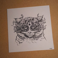 Original Ink Drawing: Magical Masked Wildcat