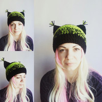 Black Cat Hat Lime Pussy Hat Cat Crochet Hat with Ears Animal Hat for Girls Women Cat Hat Green Hat Valentine's gift for her