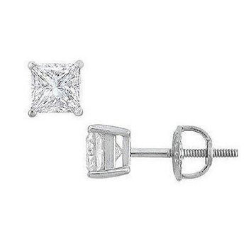 1/2 CTW. Princess-Cut Diamond Solitaire Stud Earrings in Platinum (H-I/VS2) - Save on Select Styles - Zales