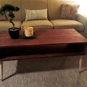 Mid Century Modern Inspired Coffee Table. Contrasting Legs