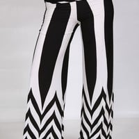 Black and White Multi Chevron Print Palazzo Pants