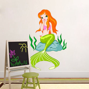 Mermaid Wall Decal - Mermaid Wall Sticker - Mermaid Wall Art - Mermaid Sticker Wall Decor Girls Bedroom - Nursery Room Mermaid Theme mc125